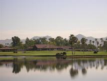 Scottsdale's McCormick Ranch Golf Course Clubhouse with the McDowell Mountains